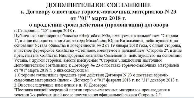 Образец договора с пролонгацией 2021