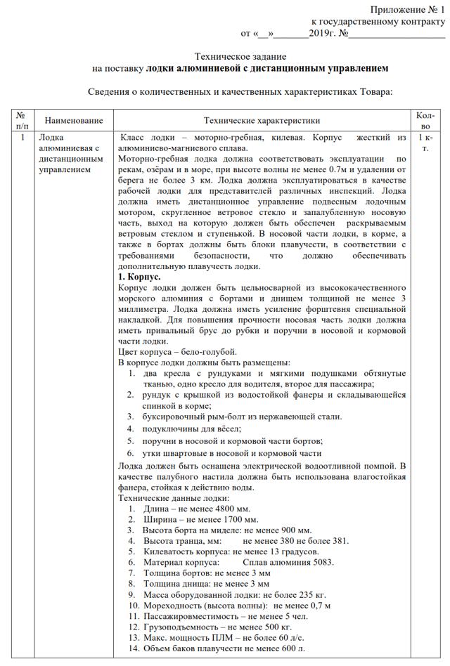 Образец формы технического задания по 44-ФЗ в 2021 году