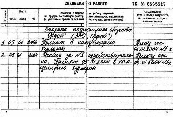 Исправление в трудовой книжке ошибочно внесенных записей: образец